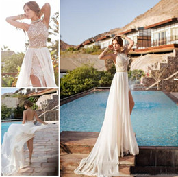 Wholesale Halter Wedding Dresses Slit - Julie Vino Lace Appliqued Beach Wedding Dresses Bohemian Halter Backless Beading A-Line Flowing Chiffon Skirt Cheap 2016 Bridal Gowns