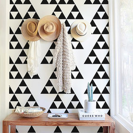 Wholesale gold wallpaper for bedroom - Gold Triangles Wall Sticker Removable Home Decor Art Wall Decals Small Baby Wallpapers Geometric Nordic Black Grey Triangle Wall Stickers