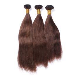 tinte natural para el cabello de color marrón oscuro Rebajas Color natural # 1B 2 4 Brown oscuro 3 paquetes recto pelo sin procesar del Cabello liso puede ser encrespado y teñido de cabello humano teje