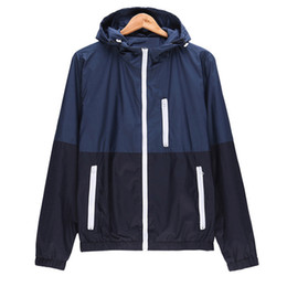 Wholesale Wholesale Outdoor Jackets - Wholesale- Mens Spring Running Thin Jacket Waterproof Windbreaker Light Weight Windproof Outdoor Sports Jacket with Front-Zip