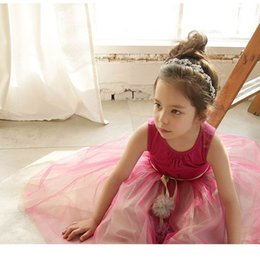 Wholesale Kids Girls Maxi Dress - Retail 2017 Summer Girls Party Dresses Girls Ball Tulle Sleeveless Princess Maxi Dresses Fashion Dance Dress Kids Clothing 71723