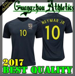Wholesale Neymar Brazil Soccer - TOP quality Brazil jersey 2017 2018 Soccer jersey Camisa de futebol Brasil Neymar Oscar home away jersey Adult football Shirt men Fast deliv