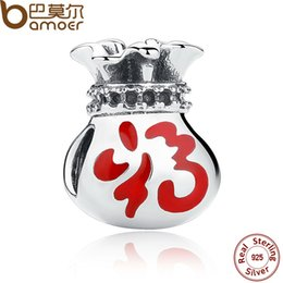 Wholesale 925 Bracelet Chinese - Wholesale- BAMOER 925 Sterling Silver Chinese Style Lucky Purse Charms fit Bracelets for Women DIY Jewelry Accessories SCC011