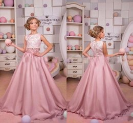 Wholesale Two Piece Cute Short Dresses - New Arrival 2018 Cute Two Piece Girls Flower Girls Dresses Crew Neck Sleeveless Lace Apliques Sweet Girls Wedding Dresses BA6675