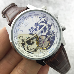 Wholesale Automatic Wrist Leather Date Mechanical - New Natural leather Wrist Watch Men Top Brand Luxury Male Famous Clock Automatic Menchanical Watches Calendar Date Tourbillon Watch Classic