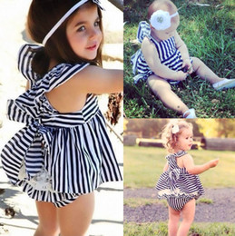 Wholesale Navy Stripes Dresses Baby - Wholesale- 2016 New Baby Girls Summer Sunsuit Outfits Bowknot Navy Stripe Backless Dress Sundress Briefs 2Pcs Set 0-24M