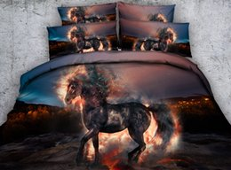 Wholesale Comforter Sets For King Size - Galaxy Hellfire Horse 3D Printed Bedding Sets Twin Full Queen King Size Dovet Covers Pillow Shams Comforter Animal for Teens Children Adults