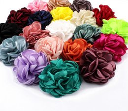 Wholesale Flower Vintage Fabric - Wholesale- 30pcs lot 8CM 20 Colors Newborn Vintage Soft Artificial Fabric Flowers For Headbands Chic Hair Flowers For Children Accessories