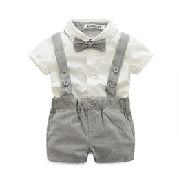 Wholesale Kids Overalls Wholesale - Hug Me Boys Plaid Sets Kids Clothing 2017 Summer Fashion Bow Short Sleeve Cotton Shirt + Overalls Short 2 Pieces MA-024