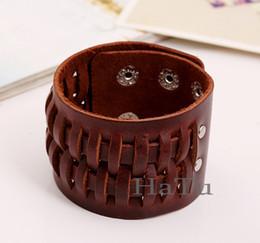Wholesale Vintage Bangle Cuff Wrap - Wholesale-Genuine Leather Wrap Bracelet Men Wide Retro Vintage Black brown Buckle cuff Bracelet Bangle Jewelry Pulseira Masculina De Couro