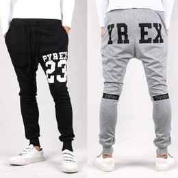 Wholesale Mens Dance Drop Crotch Pants - Wholesale-2016 Mens Joggers Pyrex 23 Fashion Low Drop Crotch Harem Pants Trousers Hip Hop Slim Fit Skinny Sweatpants Men For Fashion Dance