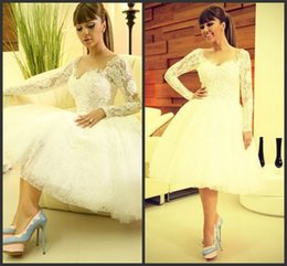 Wholesale Short Pleated Skirts Lace - Hot New 2016 Sweetheart Lace Applique Custom made A Line Vintage Style Knee Length Bridal Short Wedding Dresses ED052