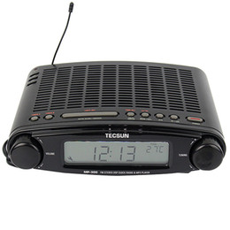 desktop radio player Coupons - Wholesale-TECSUN MP-300 FM Stereo DSP Radio USB MP3 Player Desktop Clock ATS Alarm