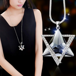 Wholesale Star Long Pendant - Fashion long section of six-star sweater chain necklace Fine jewelry Crystals from Swarovski female clothes hanging chain jewelry