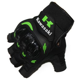 Wholesale Motorcycle Half Finger Gloves - Kawasaki KTM Half Finger Motorcycle Gloves Motocross Luvas Guantes Green Color Protective Gears Racing Summer Glove For Men Women M - XXL