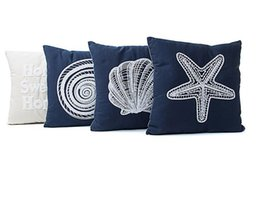 Wholesale Cushion Starfish - Mediterranean style canvas pillowcase Marine series of embroidered cushion cover Conch starfish shell pattern pillow case