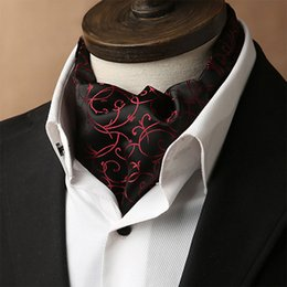 Wholesale British Neckties - Free Shipping TIESET Man's Ascot Scarf Paisley Necktie Multicolor Retro Cravat Luxury British Style Gentleman polyester Wedding Party