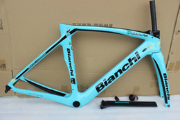 Wholesale Carbon Matte Frame - 5 color bianchi XR4 T1000 green aero bicycke carbon frame +seatpost+clamp+headset+fork carbon road frame with BB386 size 50cm 53cm 55cm 57cm