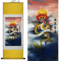 Wholesale Traditional Chinese Dragon Painting - Dragon painting Chinese traditional dragon painting Chinese scroll painting dragon animal Wall Art Scroll Hang Picture