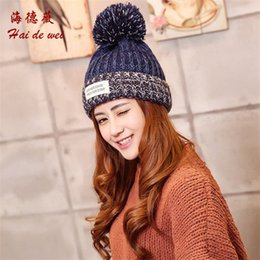 Wholesale Dot Funding - Ms woven lable of new fund of 2016 autumn winters is knitted cap Han edition lovely mixed color warm hat hat wholesale