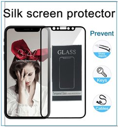 Wholesale Iphone Thin Hard - 3D Silk screen Protector for iPhone X 8 7 plus 9H Hardness Full Cover Film Hard Edge Ultra-thin Tempered Glass with Package