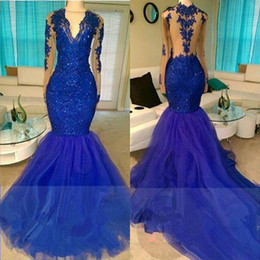 Wholesale Real Made Prom Dress - 2K17 Real Shinny Royal Blue Mermaid Prom Dresses Sexy Illusion Long Sleeves Sheer Backless Appliqued Sequined Long Tulle Party Evening Gowns