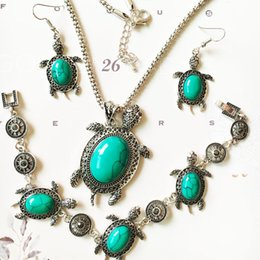 Wholesale Turquoise Earrings Bride - New tortoise Turquoise Bracelet Earrings Necklace Sets Women Fashion Wedding Bride Party Jewelry Sets free shipping