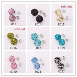 Wholesale Crystal Stud Earrings Bulk - Colorful Shamballa Stud Rhinestone 10 mm 9 Color Round Bead Bulk Package 50 pairs Gift Bag Woman Earring