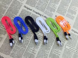Wholesale Iphone Usb Color Flat - 3FT Metal Flat Noodle Micro USB Cable 2A Data Sync Fast Charging Adapter Cords for Mobile Phone Android V8 & Tablet Get