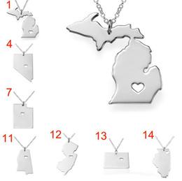 Wholesale Florida State Gifts - 50 State America Map Necklace heart love Titanium New York Missouri Texas Florida Hawaii Washington USA United States Map pendant necklaces