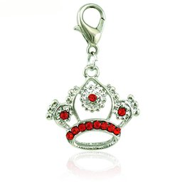 Wholesale Silver Imperial Crown - New Fashion Lobster Clasp Charms Dangle Rhinestone Pierced Imperial Crown Pendants DIY Making Jewelry Accessories Wholesale
