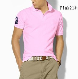 Wholesale Mens Polos - Summer Mens Casual embroidery Polos Cotton Short -Sleeve shirt Slim Polo Shirts Turn-Down Collar England Style MenTops