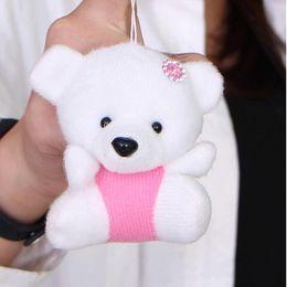 Wholesale Wedding Soft Toys Bears - Wholesale- Kawaii 1PC NEW Wedding Gift Bear cartoon Bouquet DOLL TOY ; Plush Stuffed TOY Size 10cm Soft DOLL TOY