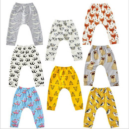 Wholesale Trouser Cartoon - Baby Flamingos Leggings Animal Printed Haroun Pants Cartoon PP Pants Fox Penguin Tights Fashion Casual Trousers Children's Clothing B2393