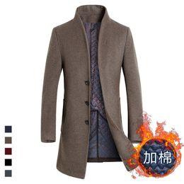 Wholesale Trench Coat Warm Liner - Wholesale- Warm Winter Long Trench Coat Men Overcoat Jacket Men Windbreaker Woolen Fashion Black Trench Coat Men Wool Plus Size Costume New