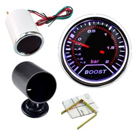 Wholesale Wholesale Boost Gauge - Hight Quality 2 Inch 52mm Cars Autos Vehicle Smoke White LED Turbo Boost Gauge Vacuum Meter Car Instruments