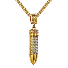 Wholesale Dj Jewelry - Hip hop Bling Iced Out Crystal Rhinestone Bullet Shape Pendants Necklace Nightclub DJ Rapper Long Box CHAIN Jewelry