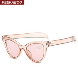 wholesale peekaboo new 2016 fashion mirror cat eye sunglasses women cheap retro sexy transparent frame