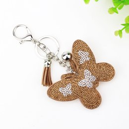 Wholesale Cute Butterfly Keychain - Butterfly key rings Fashion Cute Butterfly Candy color Tassel encrusted with diamond leather keychain Keyring 70x55cm