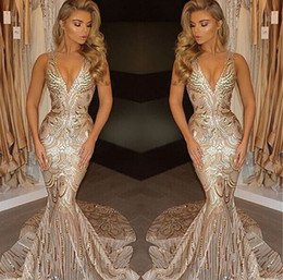 Wholesale Evening Dresess Black - Gorgeous Deep V Neck Mermaid Sequins 2017 Prom Dresses Sexy Spaghetti Straps Champagne Long Party Occasion Gowns Evening Dresess BA4582