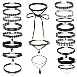 Wholesale Wholesale Leather Lace For Jewelry - Bahama Statement Jewelry Wholesale 20pcs lot Women's Chocker Trendy Lace Chokers Necklaces for Women Black Velvet Choker Leather Necklace