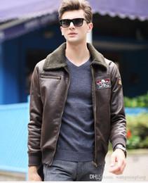 Wholesale Man Fur Coat Models - 2016 Men Europe and the United States fur coat Eagle leather air force uniforms flying jacket trendy models