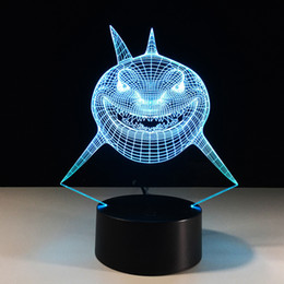 Wholesale Shark Night Lights - 2016 Shark 3D Optical Illusion Lamp Night Light 7 RGB Lights DC 5V USB Charging AA Battery Free Shipping