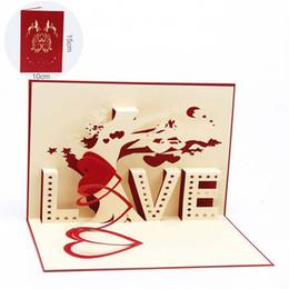 Tarjetas hechas a mano para los enamorados online-2017 nuevo 10 unids / lote Tarjeta Pop 3D Regalo / Tarjetas de felicitación Conjunto de postales hechas a mano de los amantes de San Valentín