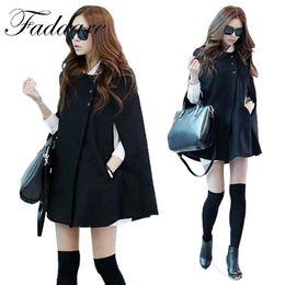 Wholesale Black Women Batwing Sleeve Cardigan - 2017 New Women Coat Tops Sweet Fall Winter Girls Ladies Black Cloak Cardigan Cape Cappa Bat Sleeve Button Coat