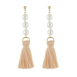 Wholesale Pearl Drop Mother - Newest Fashion Jewelry Gold Plated Alloy Three Pearls Design with Bundle Threads Tassels Drop Earrings for Women