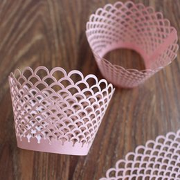 Wholesale Mini Laser Multi Color - Party mini cupcake wrapper pink laser cut birthday marriage graduation cupcake wrapper favor box multi color