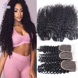 Wholesale Virgin Curly Middle - Modern Show Hair Brazilian Human Hair Weaves Curly Wave 4 Bundles with Lace Closure Unprocessed Brazilian Virgin Hair Bundles with Closure