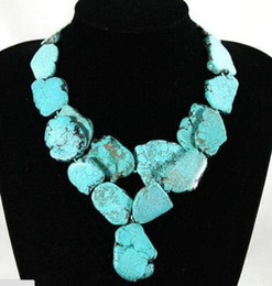 Piedra de luz natural online-Mujer-2-Filas-Collar-20x35mm-light-blue-Natural-Turquoise-Slice-Stone-Colgante Mujer-2-Rows-Necklace-20x35mm-light-blue-Natural-Turquoise-
