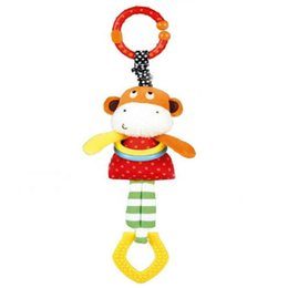 Wholesale Hung Monkeys - Wholesale- Newborn Soft Monkey With Ring Bell Baby Musical Crib Mobiles Toys Hanging Early Education Baby LatheToy Baby Teether Rattle